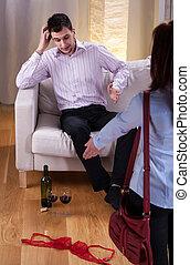 Wife suspecting husband of betrayal