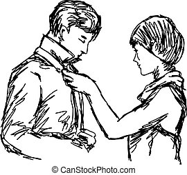 Wife tying necktie of her husband vector illustration sketch hand drawn with black lines isolated on white background