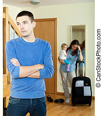wife with daugther leaving from home
