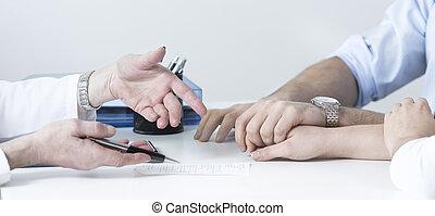 wife's, marido, segurando mão