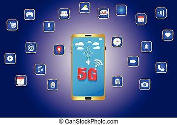 wifi, élevé, téléphone, avenir, 5g, vitesse, intelligent