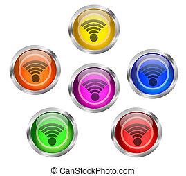 wifi, アイコン, ボタン
