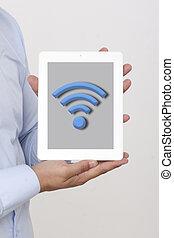 wifi, アイコン, 上に, ∥, タブレット