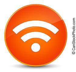 wifi, アイコン, 優雅である, オレンジ, ラウンド, ボタン