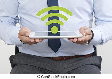 wifi, シンボル, 上に, ∥, タブレット