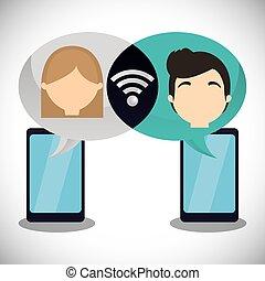 wifi, 恋人, smartphone, 談笑する, インターネット