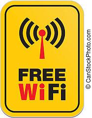 wifi, 無料で, 黄色の符号
