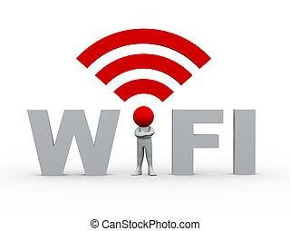 wifi, 3d, hombre