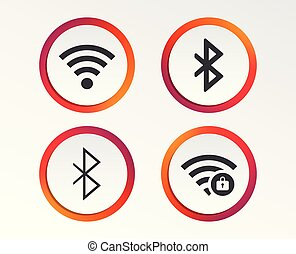 Wifi and Bluetooth icon. Wireless mobile network.