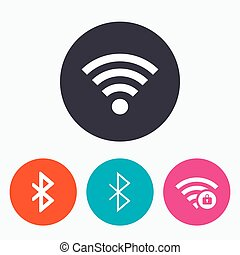 Wifi and Bluetooth icon. Wireless mobile network