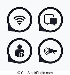 Wifi and chat bubbles. Add user, megaphone.