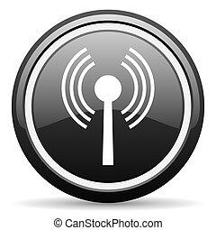wifi black glossy icon on white background
