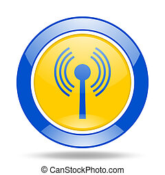 wifi blue and yellow web glossy round icon