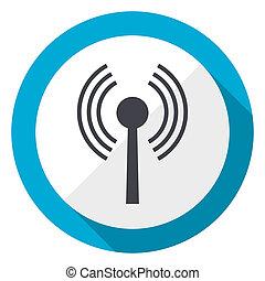 Wifi blue flat design web icon