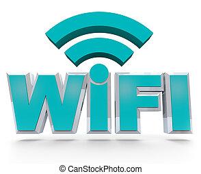 WiFi - blue letters symbolizing wireless hot spot area - The...