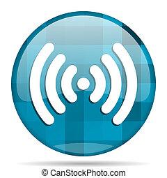 wifi blue round modern design internet icon on white background