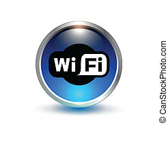 wifi blue symbol vector 3d button
