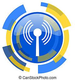 wifi blue yellow glossy web icon