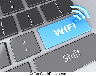 wifi, botón, en, computadora, keyboard., 3d, ilustración