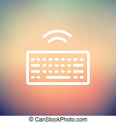 Wifi button in keyboard thin line icon