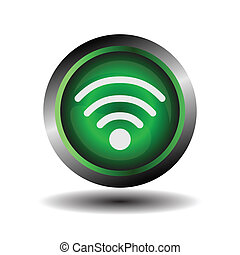 Wifi button symbol on green glossy