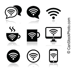 wifi, café internet, wifi, icônes