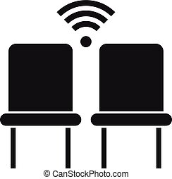 Wifi chairs point icon, simple style