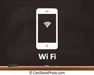 Wifi Chalkboard Vector Illustration