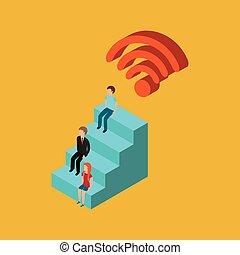 wifi, collegamento, globale, famiglia, digitale