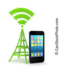 Wifi concept.Isolated on white background.3d rendered...