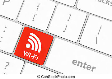 wifi concepts, with message on enter key of computer ...