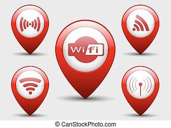 wifi, conjunto, icono