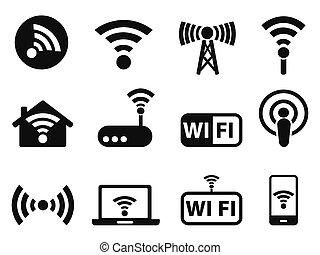 wifi, conjunto, iconos