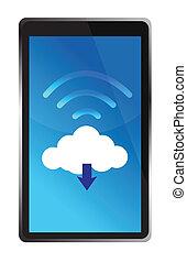 wifi, connecté, nuage, tablette
