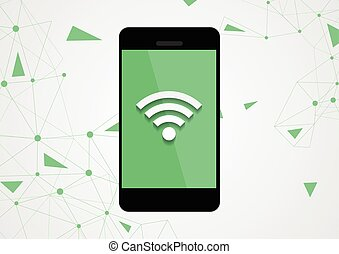 Technology mobile phone camera photo wifi connection vector