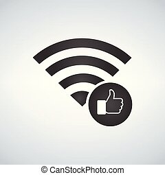Wifi connection signal icon with hand or like icon in the circle. vector illustration isolated on modern background.