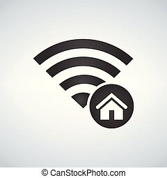 Wifi connection signal icon with home icon in the circle. vector illustration isolated on modern background.