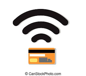 Wifi Credit Debit Card.Contactless credit card vector.Credit...