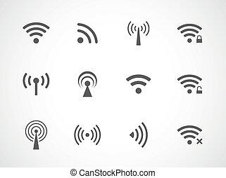 wifi, fili, differente, set, icone