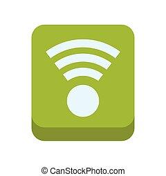 Wifi frame green internet web icon. Vector graphic