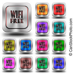 WIFI Free aluminum glossy icons, crazy colors