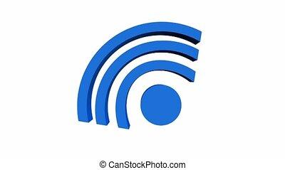 Wifi free banner, wifi antenna symbol moving on a white...