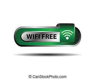 Wifi free button green sign vector