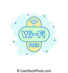 Wifi free icon in comic style. Wi-fi wireless technology vector cartoon illustration pictogram. Network wifi business concept splash effect.