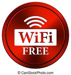 WIFI free icon - Metallic icon with white design on red...