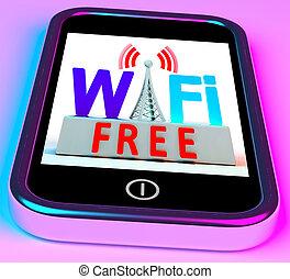 Wifi Free On Smartphone Showing Wireless Free Internet