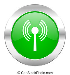wifi green circle chrome web icon isolated