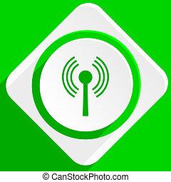 wifi green flat icon