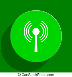 wifi green flat icon