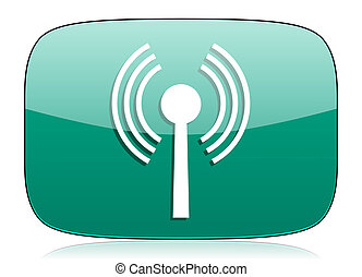 wifi green icon wireless network sign